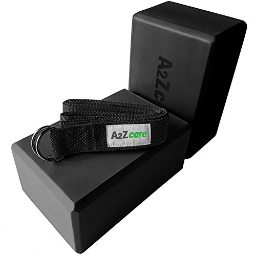 A2ZCARE Yoga Blocks (Set of 2) and Yoga Strap Set with D-Ring - Yoga Foam Block 9x6x4 inch and Yoga Stretching Strap (Black) ()