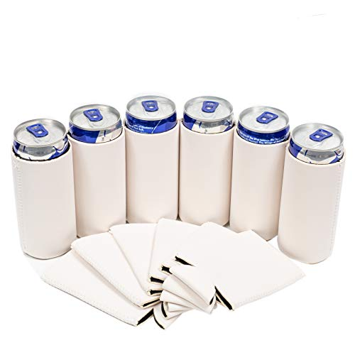 Bud Blank - QualityPerfection - 8.4 oz Mini Slim Blank Can Sleeves - Slim Beer Can Coolers - Great for 8.4 oz RedBull, Soda, Bud Light (Off White, 12)