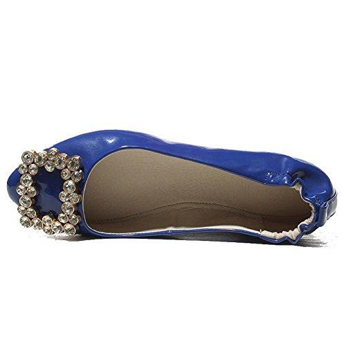 VogueZone009 Donna Finta Pelle Scamosciata Puro Tirare Punta Chiusa Punta Tonda Senza Tacco Ballerine Azzurro
