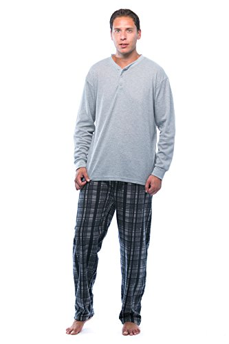 (#followme Pajama Set for Men with Thermal Henley Top and Polar Fleece Pants 44909-3A-NEW-S Charcoal)