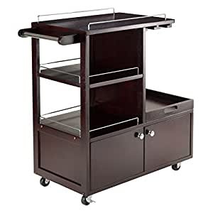 amazon com winsome wood galen entertainment cart bar amazon com winsome mali kitchen cart bar amp serving carts