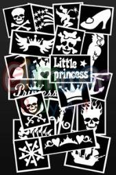 Pirate and Princess Stencils for Glitter Tattoos, Face Paint or Henna