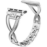 Wearlizer Sliver Bling Compatible for Apple Watch Band 42mm 44mm Rhinestone Womens for iWatch Strap Stainless Steel X Replacement Fashion Dress Wristband Metal Removal Clasp Series 4 3 2 1 Edition