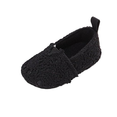 Baby Girl Soft Sole Cloth Mary Jane Soft Shoes Premium Crib Non-Slip Prewalker (Black, 6-12 Months)