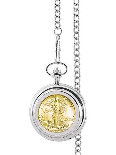 Gold-Layered Silver Walking Liberty Half Dollar Pocket Watch