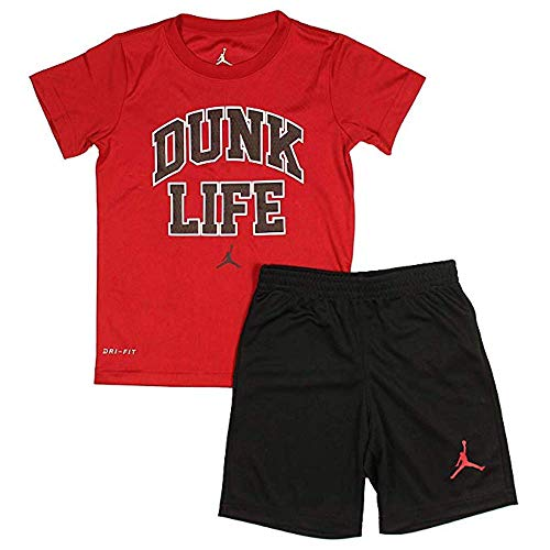 e527de258d6 Jordan Nike Air Boy`s T-Shirt and Shorts 2 Piece Set (Red Dunk Life, 6)