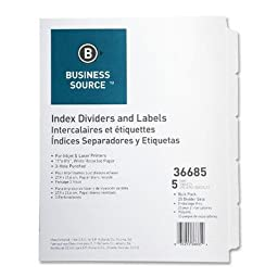 Business Source Punched Laser Index Divider - 5 x Tab - Blank - 8.50quot; x 11quot; - 25 / Box - White Divider - White Tab