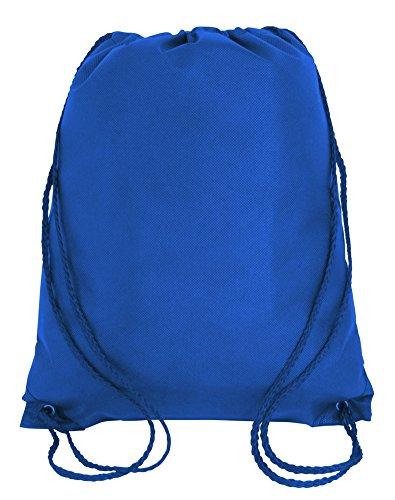 Royal Blue Drawstring Backpack - Pack of 25 - Non-Woven Promotional Drawstring Bags - Drawstring Backpack in BULK - String Backpack - String Bag - Drawstring Tote Bag - Cinch Bag - 13.5