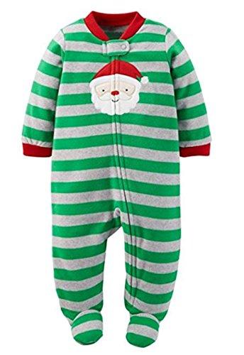 Santa Claus Striped Microfleece Blanket Sleeper (6-9)