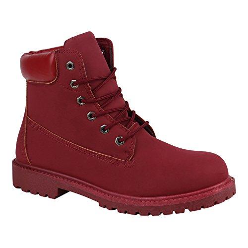Stiefelparadies Gefüttert Herren Worker Boots Schnürstiefel Schuhe Profilsohle Flandell Rot Carlet