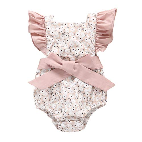 - Infant Baby Girls Ruffles Sleeve Romper Floral Print Vintage Jumpsuit Outfit Sunsuit Outfits