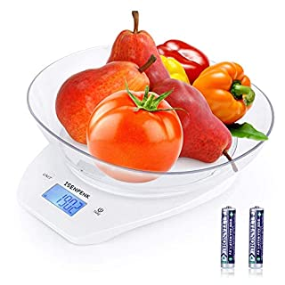 Food Scale with Bowl, WISREMT 5000g/1g Precise Graduation Multifunction Digital Kitchen Scale for Baking and Cooking, White/Batteries Included (Ship from USA)