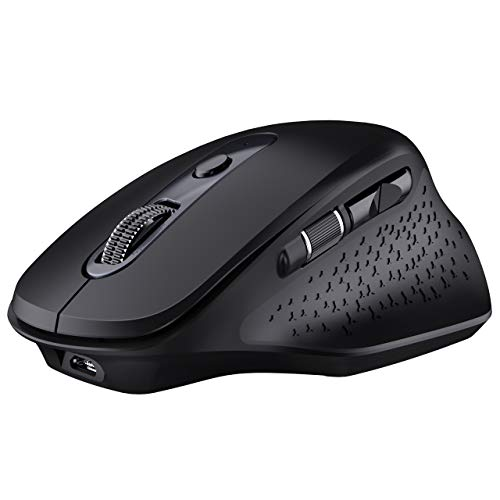 VicTsing Pioneer Rechargeable Bluetooth Mouse, Easy-Switch Up to 3 Devices, Wireless Mouse with Side Scroll Wheel, 5 Levels Adjustable DPI, Bluetooth Mouse for Laptop Android/OS/iOS/Windows/Linux