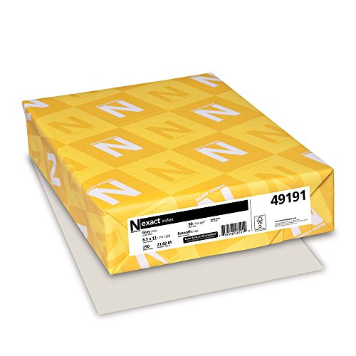 90 Cardstock Index Lb - Wausau Exact Index Cardstock, 90 lb, 8.5 x 11 Inches, Pastel Gray, 250 Sheets (49191)