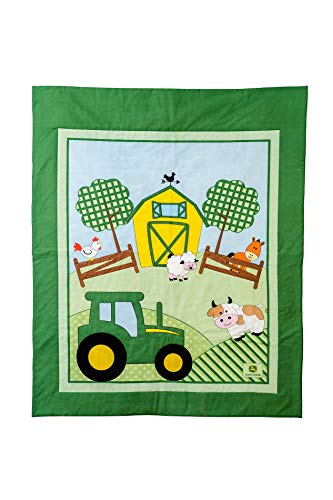 John Deere Tractor Baby Quilt, Tractor with Farm Animals, Crib ()