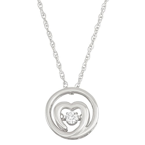 - Boston Bay Diamonds 925 Sterling Silver Dancing Diamond Love Heart Circle Pendant Necklace, 18
