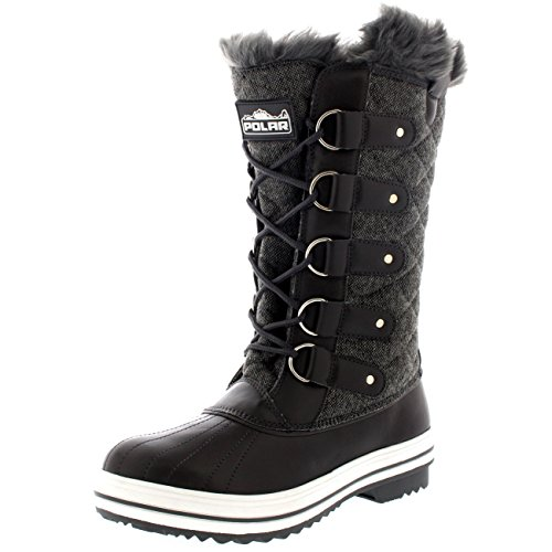 Womens Snow Boot Quilted Tall Winter Snow Waterproof Warm Rain Boot - 8 - GRT39 YC0013 (Winter Quilted Boots)