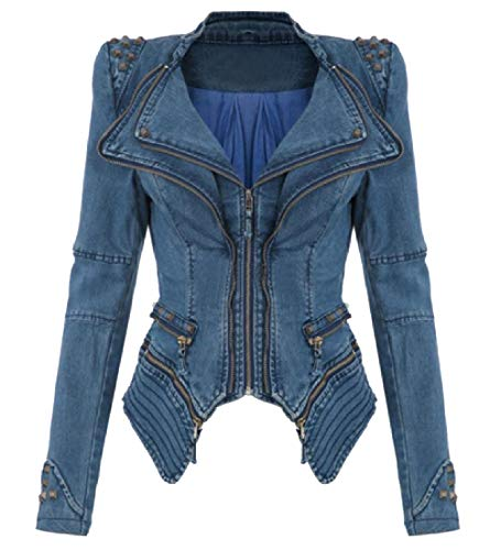 Blue Original AngelSpace Collar Studded Jacket Fit Racer Fold Denim Womens 1zOqzSg