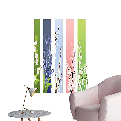 Wall Stickers for Living Room Spring Flowers Different Backgrounds Valley Primrose Home Vinyl Wall Stickers Print,28