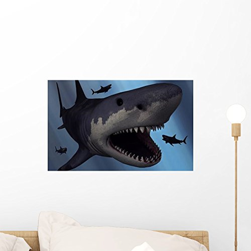 Wallmonkeys Megalodon Shark from Cenozoic Wall Mural by Peel and Stick Graphic (18 in W x 11 in H) (Carcharodon Megalodon Shark)
