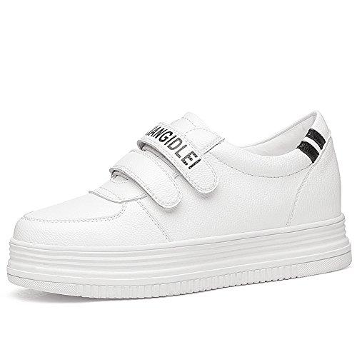 KPHY Velcro Invierno Salvaje De Espesor Muffin Zapatos De Mujer Calle Jaleo Cierre Zapatos Casuales.Treinta Y Seis Blanco white