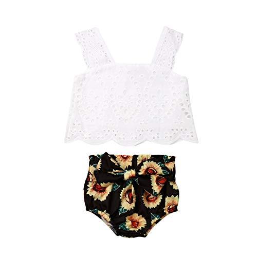 Newborn Baby Girl Summer Dress Tops+Tutu Pants 2PCS Outfits Clothes Sunsuit Set 0-24M (18-24 Months, White 2)