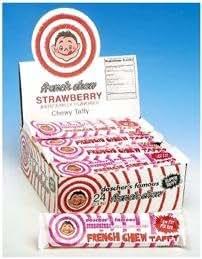 French Chew Taffy Bars - Strawberry: 24CT Box