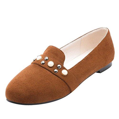Sjarm Foten Kvinners Komfort Vintage Stil Piggdekk Loafer Leiligheter Gulbrun