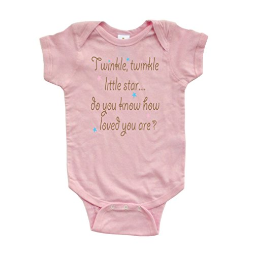 (Cute Unisex Twinkle Little Star Nursery Rhyme Short Sleeve Comfy Baby Bodysuit, Pink, 6 Months)