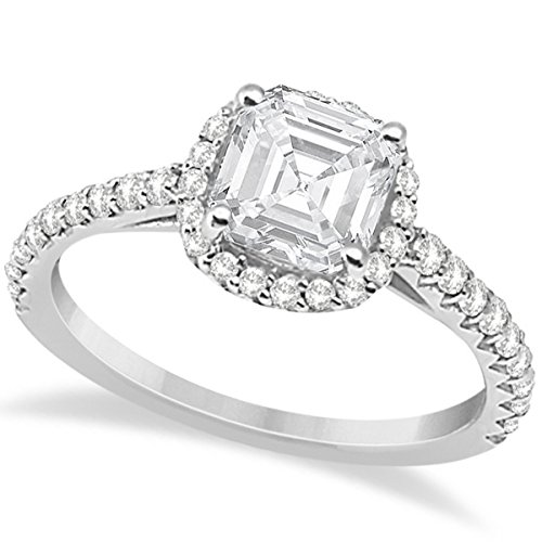(Halo Design, Asscher Cut Diamond Engagement Ring with Side Stones in 14K White Gold)
