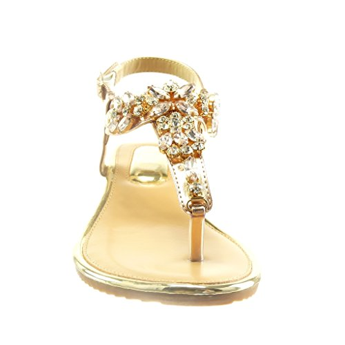 Angkorly - Scarpe da Moda sandali cinturino aperto donna gioielli lucide Tacco zeppa 2 CM - Champagne