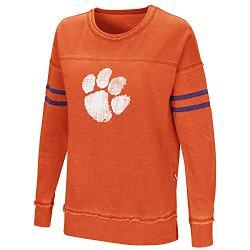 - Colosseum Women's NCAA-Home Game- Fleece Retro Vintage Pullover Sweatshirt-Clemson Tigers-Orange-Small