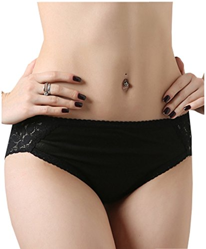 METWAY Women's Silk Underwear Lace Sexy Silk Panties (Medium, Black)
