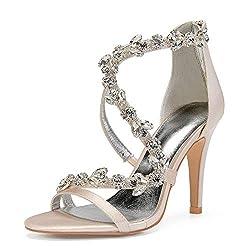 Open Toe Zipper Back Strap High Heel Champagne Sandals