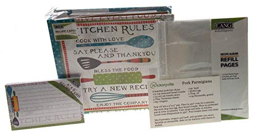Lang Kitchen Rules Recipe Card Album Bundled with Extra Refill Pages & Recipe Cards - Artwork by Susan Winget (2 Bonus Recipes by Hickoryville) ()
