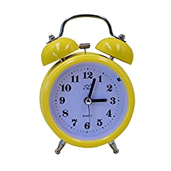 Monique Desk & Shelf Nightlight Alarm Clock Home Travel Twin Bell Silent Quartz Alarm Clock Round Yellow