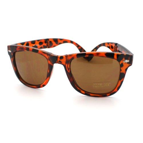 Tortoise Folding horned Sunglasses with a Belt Carrying - Folding Wayfarer Case