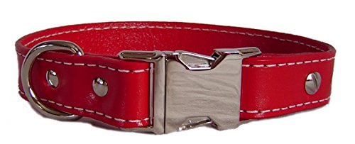 Auburn Leathercrafters Seneca Side Release Buckle Collar, Red, 24 inches (22 inches to 24 inches)