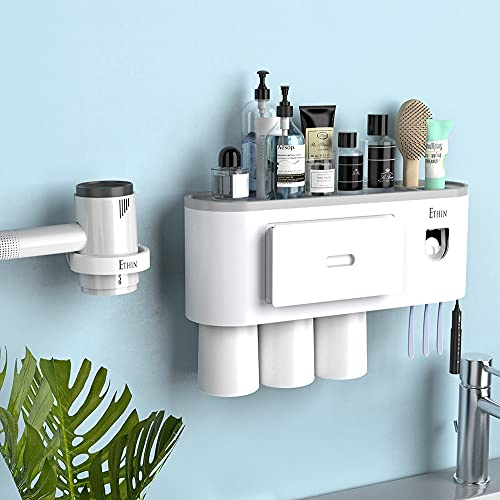 Toothbrush Holder Wall Mounted, Toothbrush Holder for Bathroom with Free Hair Dryer Holder, Automatic Toothpaste Dispenser Kit 4 Toothbrush Slots, Magnetic Cups and Double Adhesive Tape by Ethin