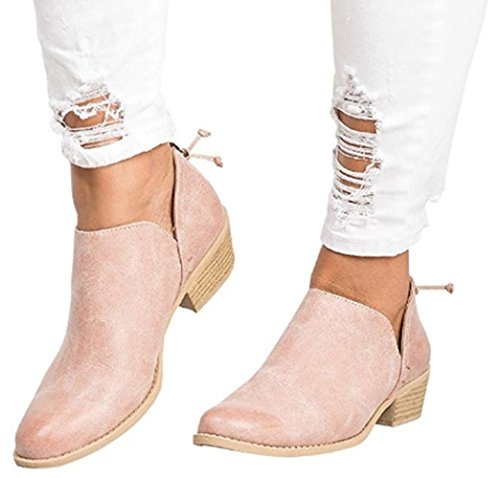 Rainlin Women's Western Cowboy Ankle Booties Cut Out Block Stacked Low Heel Shoes Size 6 Pink by Rainlin
