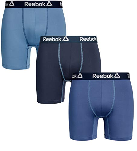 Reebok Mens 3 Pack Performance Quick Dry Moisture Wicking Boxer Briefs (Large, Navy/Blue/Dark Blue)