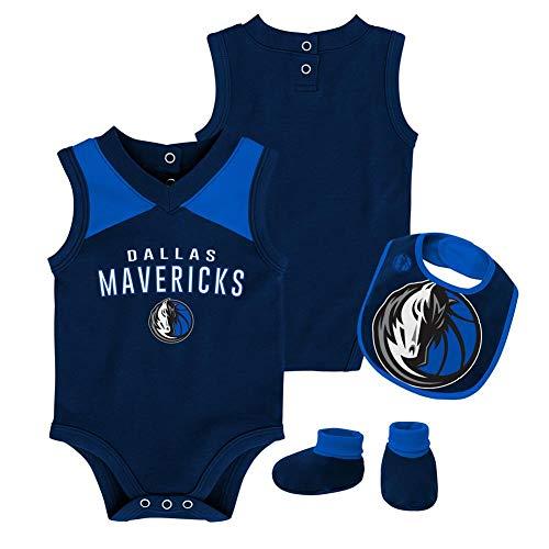 (Outerstuff NBA NBA Newborn & Infant Dallas Mavericks Overtime Bodysuit, Bib & Bootie Set, Dark Navy, 18 Months)