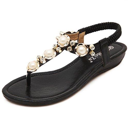 Minetom Mujer Sandalias Bohemio Estilo Peep Toe Zapatos Nuevo Verano Playa Sandalias Negro