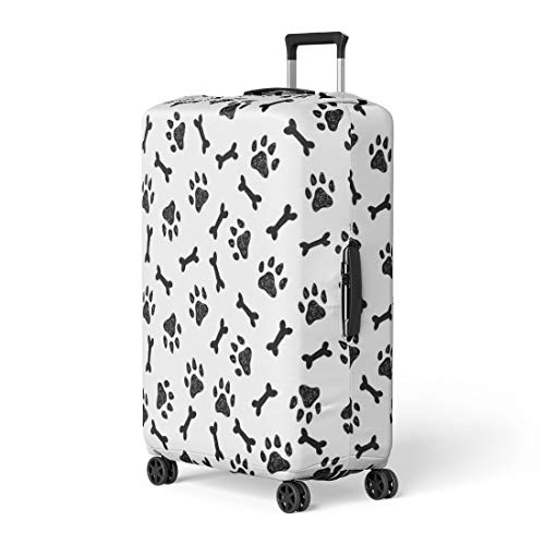 Pinbeam Luggage Cover Dog Pattern Bones and Paws Abstract Animal Black Travel Suitcase Cover Protector Baggage Case Fits 22-24 inches
