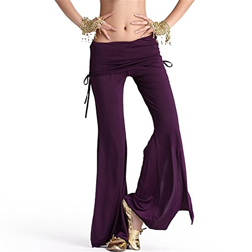 Belly Dance Lateral Belt Skirt Split Pants Dancing Tribal Milk Silk Costume dark Purple (Dark Dance Costumes)