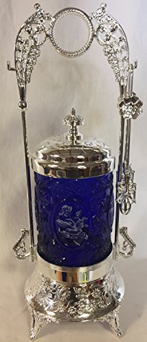 Pickle Castor w/ Tongs & Glass Insert - Old Fashion Victorian Style (Cobalt Blue Cameo w/ White Floral) (Cobalt Glass Victorian)
