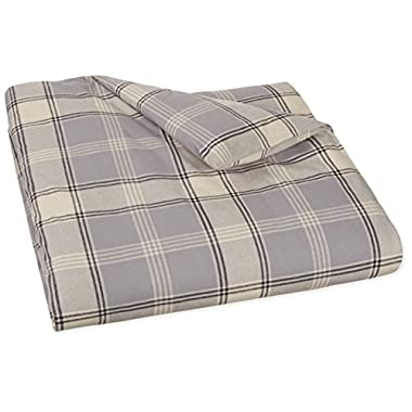 AmazonBasics Yarn-Dyed Lightweight Flannel Duvet Cover - Full/Queen, Grey Plaid