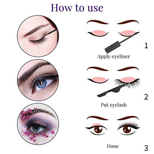 Magnetic Eyeliner and Magnetic Eyelash Kit, No Glue Reusable False Eyeashes Natural,3 Pairs False Lashes with Waterproof Magnet Eyeliner for Small Eyes, Black Tweezers
