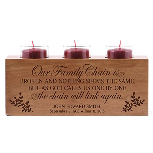 Engraved Candle Holder (Personalized Our Family Chain is Broken Memorial sympathy candle holder custom engraved cherry wood keepsake ideas for Loved One 10