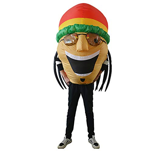HHARTS Funny Inflatable Costume for Adult Kid Blow up Jamaicans Costume for Halloween Cosplay Party Christmas